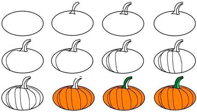 Как рисовать тыкву на Хэллоуин поэтапно?
